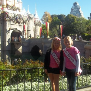 Miss Colorado JPT and Miss Virginia JPT of Team Leadership at the Disney Castle