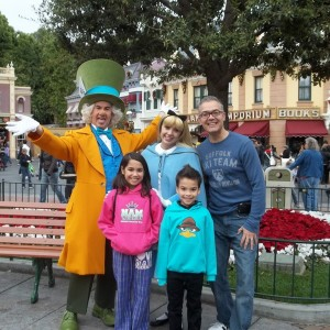 Enjoying family time with The Mad Hatter and Alice