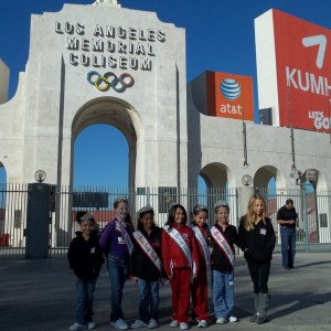 NJ Girls with Miss Texas, Illinois and New York at the LA Memorial Coliseum