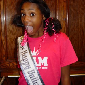 "Hailey Kilgore, Miss Happy Valley, on her way to ""crazy hair"" rehearsal!"