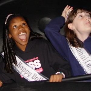 Loving the Haunted Mansion are Pre-teens Hailey Kilgore and Kyra Walters of Oregon
