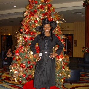 Not just trees are decked out.  Pre-teen Hailey Kilgore is ready for the talent competition.