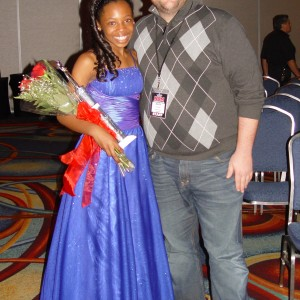 Pre-teen All-American 2011-12 Third Runner Up Hailey Kilgore poses with Oregon's State Director, Matt Leverton