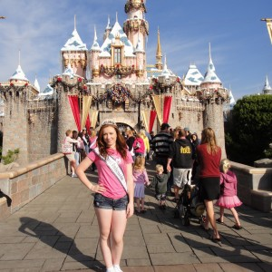 Sarah Rebetje, New Jersey Jr. Teen Actress, in front of the Sleeping Beauty Castle