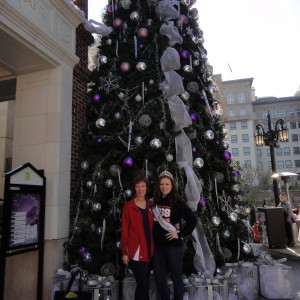 Sarah Rebetje with her mom in front of the Rodeo Drive Christmas Tree