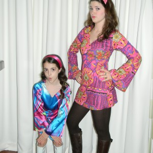 Margaret Lareau and Courtney ready for 70's party!