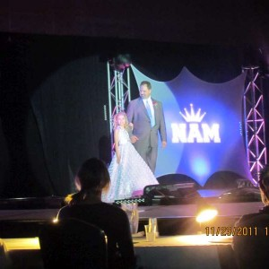 Miss Nebraska and her Escort entering the stage at Formalwear
