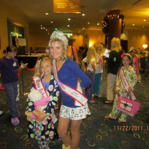 Miss Nebraska and National Jr Preteen Queen Jordan at ready for Pajama Rehearsal