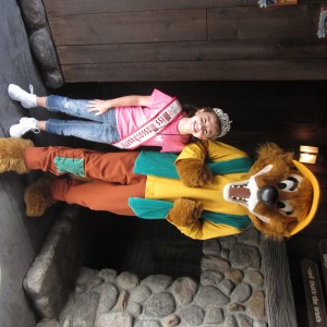 team confidence mass Jr. preteen Sydney Cooke with the fox on Splash Mt