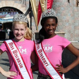 Madison Shead and Britney Georgia, queens in front of Disney Castle