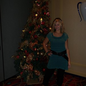 Miss Colorado by a Christmas tree!