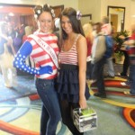 Miss Missouri Teen having fun during rehersal in her Patriotic morph suit & curlers