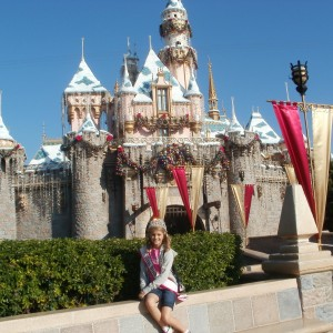 Rachel Wright - Miss Utah Preteen - hanging out in front of Disney's castle