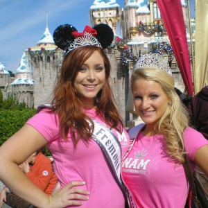 Miss Louisiana and Miss Fremont of Teach Achievement Miss Division at the Christmas Sleeping Beauty Castle