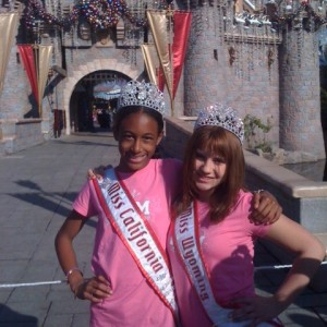 Jada Newkirk and Olivia Mercer of Team Leadership in front of the Disneyland castle