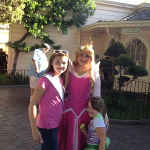 Victoria Newlove preteen with family and Sleeping Beauty