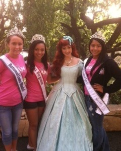 National Cover Model, Meg Mathias , Miss Virginia,Nyasha Sprow, and National Cover Girl, Samantha Maguire with Ariel at Disney