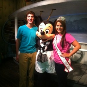 Victoria and brother with Mickey Mouse
