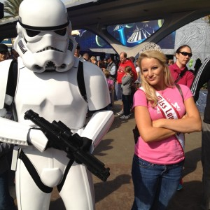 Miss Louisiana hanging out with Storm Troopers