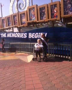 Meg Mathias and Her Memaw at the Disneyland sign
