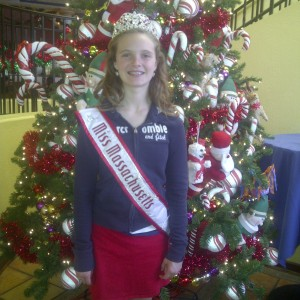 Miss Massachusetts preteen at downtown Disney Christmas decoration