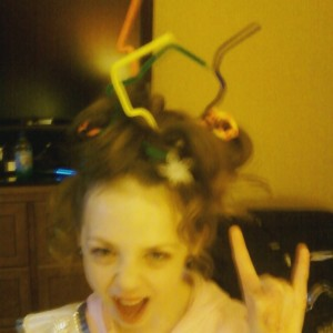 Isabella Conner during crazy hair themed rehearsal at nationals.