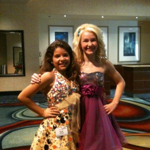 Miss Arizona Pre-teen, Raina Donati, with Miss WI Pre-teen, Brittany Georgia during optionals