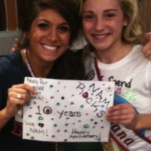 Miss Indiana with choreographer Whitney Fricke, rockin the sign she made!