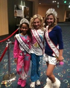 Miss Indiana, National American Miss PreTeen and National All-American Miss Preteen ready for the PJ rehearsal