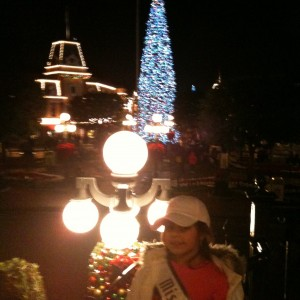 Having fun at Disney with all the Christmas decor!