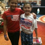 Haylee Campbell making friends - patriotic rehearsal