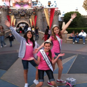 Joey Scott and friends posing in front of the castle