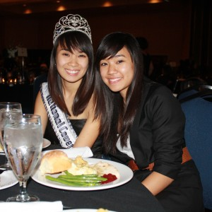 National Cover Miss Megan Viola-Vu and little sister Lindsay at the Thanksgiving Banquet
