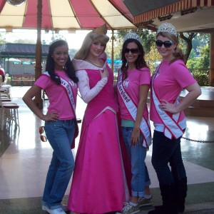 Miss contestants with Sleeping Beauty