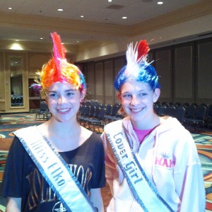 Minnesota Pre-Teens Kaitlin Kanfield and Savanna Cordle working the crazy hair