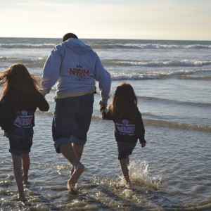 Proud NAM Dad and his NAM Girls Jianna and Jiselle at the Beach.