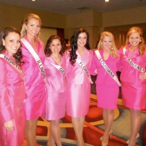 Miss contestants looking pretty in pink.