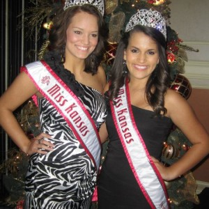 Kendra Leet, Miss Kansas Jr. Teen and Ashley Bowman, Miss Kansas at the thaksgiving banquet.