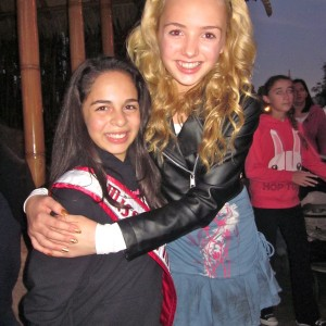 Cerriah getting a hug from Peyton List, star from the Disney Channel