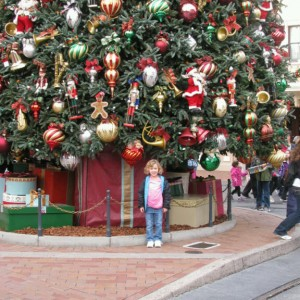 Miss Indiana Princess hanging out at Disneyland in front of the GIANT Christmas Tree