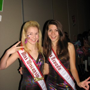 Twins at the 70's theme party - Miss Wisconsin Pre-teen and Miss Nevada Pre-teen
