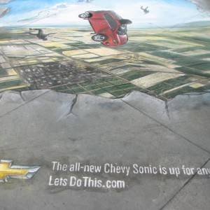 Chevrolet artist draws once in a lifetime sketch on Hollywood Blvd for the new Chevy Sonic!