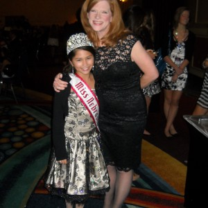 Miss Nebraska Pre-Teen Cassandra Salas with National Director Kathleen Mayes