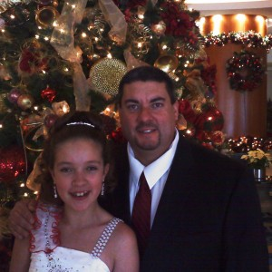 Paige Romero with Dad in front of Tree