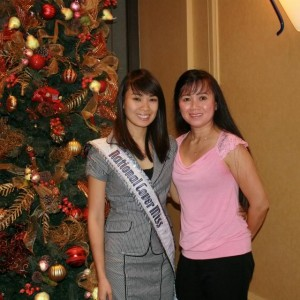 National Cover Miss Megan Viola-Vu in interview outfit with her mom