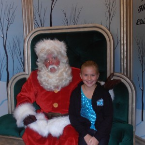 Veronica with Santa at Disneyland