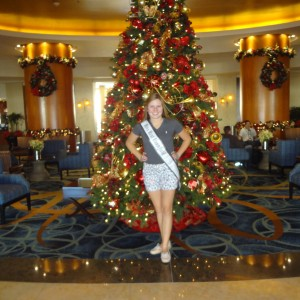Natasha Dabrowski of Michigan in front of the Christmas Tree on Day 1!