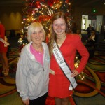 Natasha Dabrowski of Michigan with her Mother in front of the Christmas Tree