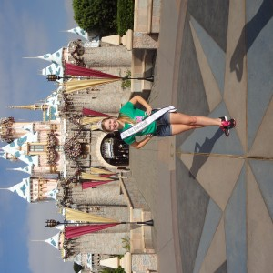 Natasha Dabrowski of Michigan in front of the Castle at Disney