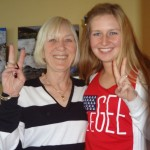 Natasha Dabrowski of Michigan and her mother being Patriotic!